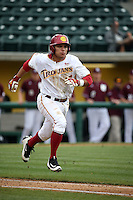 Frankie Rios (17) of the Southern California Trojans runs to first base during a game against the Mississippi State Bulldogs at Dedeaux Field on March 5, 2016 in Los Angeles, California. Mississippi State defeated Southern California , 8-7. (Larry Goren/Four Seam Images)