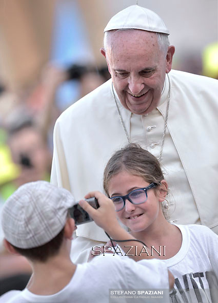 Pope Francis  during audience with participants of an international pilgrimage of altar servers in Saint Peter's Square at the Vatican. August 4, 2015