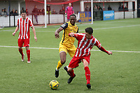 Chris Dickson of Hornchurch and Danny Norton of Bowers during Bowers & Pitsea vs Hornchurch, Emirates FA Cup Football at The Len Salmon Stadium on 2nd October 2021