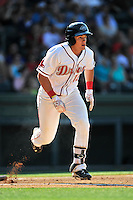 Right fielder Tate Matheny (16) of the Greenville Drive bats in a game against the Columbia Fireflies on Sunday, May 8, 2016, at Fluor Field at the West End in Greenville, South Carolina. Greenville won, 5-4. (Tom Priddy/Four Seam Images)