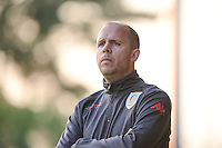 20160513 - LIEGE , BELGIUM : Standard's head coach Benoit Waucomont pictured during a soccer match between the women teams of  Standard Femina De Liege and KAA Gent Ladies , during the fifth matchday in the SUPERLEAGUE Playoff 1 , Friday 13 May 2016 . PHOTO SPORTPIX.BE / DAVID CATRY