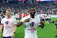 LAS VEGAS, NV - AUGUST 1: Shaq Moore #20 of the United States during a game between Mexico and USMNT at Allegiant Stadium on August 1, 2021 in Las Vegas, Nevada.