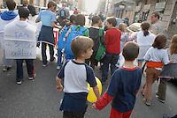 """- """"White Night"""", parents and children of elementary school House of the Sun"""" demonstration against the school reform of the education minister Mariastella Gelmini....- """"Notte Bianca"""", manifestazione di genitori e bambini della scuola elementare """"Casa del Sole"""" contro la riforma scolastica del ministro dell'istruzione Mariastella Gelmini"""