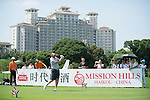 Gary McAllister tees off during the World Celebrity Pro-Am 2016 Mission Hills China Golf Tournament on 22 October 2016, in Haikou, China. Photo by Marcio Machado / Power Sport Images