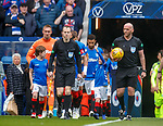 05.05.2019 Rangers v Hibs: Bobby Madden leads out the teams