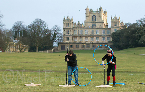08 MAR 2015 - NOTTINGHAM, GBR - Organisers prepare goals for the 2015 British Quidditch Cup at Woollaton Hall and Deer Park in Nottingham, Great Britain. 24 teams took part in the championships which were won by Southampton Quidditch Club 1 who beat reigning European Cup holders Radcliffe Chimeras 120-90 in the final. (PHOTO COPYRIGHT © 2015 NIGEL FARROW, ALL RIGHTS RESERVED)
