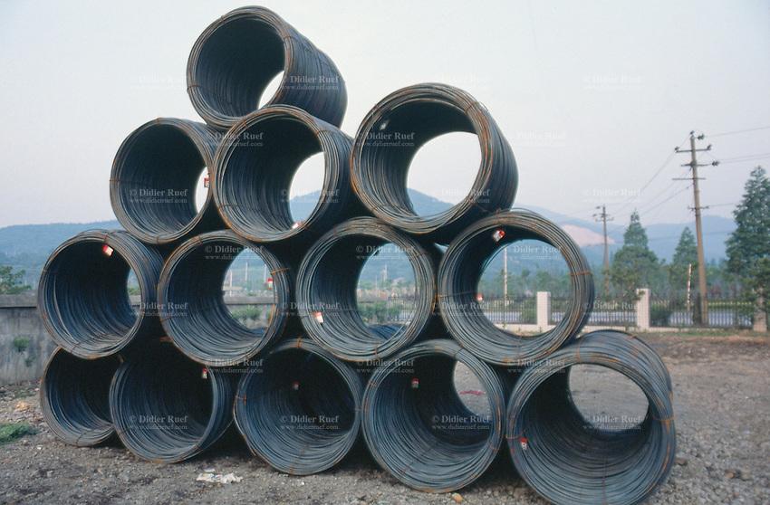 China. Province of Zhejiang. Hangzhou. Hangzhou Iron & Steel Group Company (HISEC). Finished products hot rolling strips steel.  © 2004 Didier Ruef