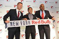 Philadelphia, PA - Thursday January 19, 2018: Jesse Marsch, Niko DeVera, Denis Hamlett during the 2018 MLS SuperDraft at the Pennsylvania Convention Center.