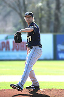 University of Pittsburgh Panthers pitcher Rhys Aldenhoven #37during a game against the Coastal Carolina University Chanticleers at Ticketreturn.com Field at Pelicans Ballpark on February 16, 2014 in Myrtle Beach, South Carolina. Pittsburgh defeated Coastal Carolina by the score of 10-6. (Robert Gurganus/Four Seam Images)