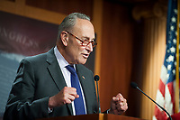 United States Senate Minority Leader Chuck Schumer (Democrat of New York), offers remarks and fields questions from reporters during a press conference at the US Capitol in Washington, DC., Tuesday, September 15, 2020.<br /> Credit: Rod Lamkey / CNP /MediaPunch