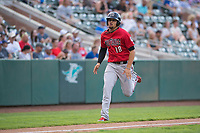 Billings Mustangs third baseman Juan Martinez (18) hustles down the third base line during a Pioneer League game against the Ogden Raptors at Lindquist Field on August 17, 2018 in Ogden, Utah. The Billings Mustangs defeated the Ogden Raptors by a score of 6-3. (Zachary Lucy/Four Seam Images)