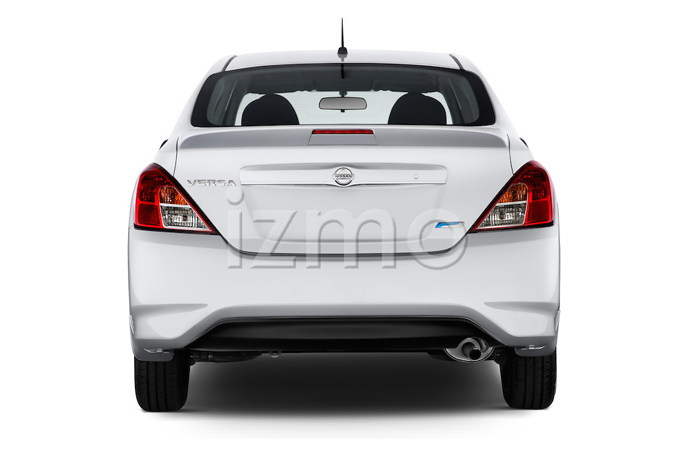 Straight rear view of a 2015 Nissan Versa 1.6 SV CVT 4 Door Sedan Rear View  stock images