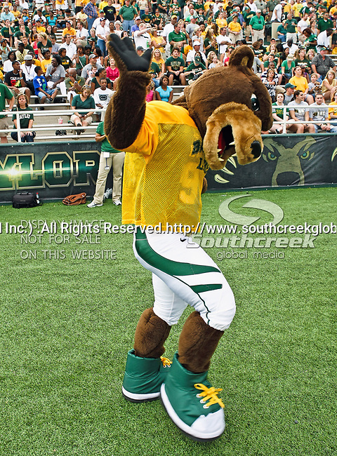 The Baylor Bears mascot in action during the game between the Stephen F. Austin Lumberjacks and the Baylor Bears at the Floyd Casey Stadium in Waco, Texas. Baylor defeats SFA 48 to 0.