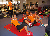 Moskou, Russia, Februari 4, 2016,  Fed Cup Russia-Netherlands,  Dutch team in the fitness,  Kiki Bertens and Richel Hogenkamp, Cindy Burger and Arantxa Rus (foreground)<br /> Photo: Tennisimages/Henk Koster