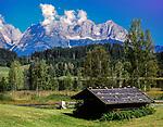 Austria, Tyrol, near Kitzbuehel: Schwarzsee (Black Lake) and Wilder Kaiser mountains | Oesterreich, Tirol, bei Kitzbuehel: Schwarzsee und Wilder Kaiser