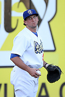 Pratt Maynard #43 of the Rancho Cucamonga Quakes before a game against the San Jose Giants at The Epicenter on August 27, 2012 in Rancho Cucamonga, California. Rancho Cucamonga defeated San Jose 4-3. (Larry Goren/Four Seam Images)