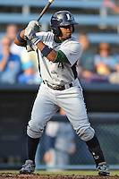 Lexington Legends second baseman Delino DeShields Jr. #4 swings at a pitch during a game against the Asheville Tourists at McCormick Field on May 5, 2012 in Asheville, North Carolina . The Legends defeated the Tourists 5-1. (Tony Farlow/Four Seam Images).