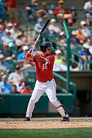 Rochester Red Wings first baseman ByungHo Park (52) bats during a game against the Columbus Clippers on August 9, 2017 at Frontier Field in Rochester, New York.  Rochester defeated Columbus 12-3.  (Mike Janes/Four Seam Images)