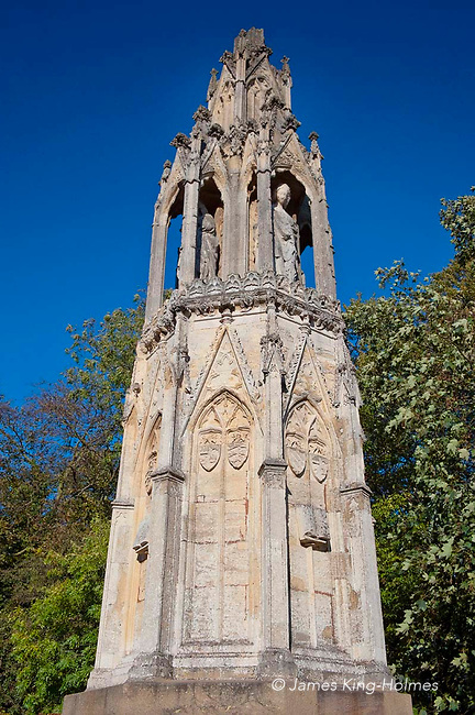 One of several memorials erected to the memory of Queen Eleanor of Castile, wife of King Edward 1 of England in the years following her death in 1290. The memorials, in the form of highly decorated crosses, were erected at stopping points on her body's  journey from Lincoln to be buried in Westminster Abbey in London, and this one is near Northampton.