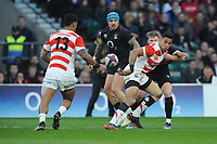 William Tupou of Japan offloads to Timothy Lafaele of Japan during the Quilter International match between England and Japan at Twickenham Stadium on Saturday 17th November 2018 (Photo by Rob Munro/Stewart Communications)