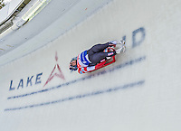 5 December 2014:  Matthew Mortensen and Jayson Terdiman, sliding for the USA, bank into Curve 10 on their second run, ending the day with a 6th place finish and a combined 2-run time of 1:28.274 in the Men's Doubles Competition at the Viessmann Luge World Cup, at the Olympic Sports Track in Lake Placid, New York, USA. Mandatory Credit: Ed Wolfstein Photo *** RAW (NEF) Image File Available ***