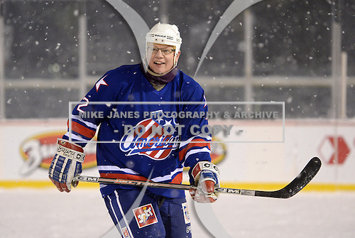Daryl Drader (2) during The Frozen Frontier Buffalo Sabres vs. Rochester Amerks Alumni Game at Frontier Field on December 15, 2013 in Rochester, New York.  (Copyright Mike Janes Photography)