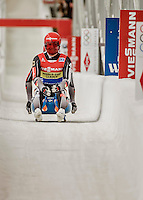 4 December 2015: Toni Eggert and Sascha Benecken, sliding for Germany, cross the finish line after their second run, finishing 1st for the day with a combined time of 1:27.583 in the Doubles Competition of the Viessmann Luge World Cup at the Olympic Sports Track in Lake Placid, New York, USA. Mandatory Credit: Ed Wolfstein Photo *** RAW (NEF) Image File Available ***