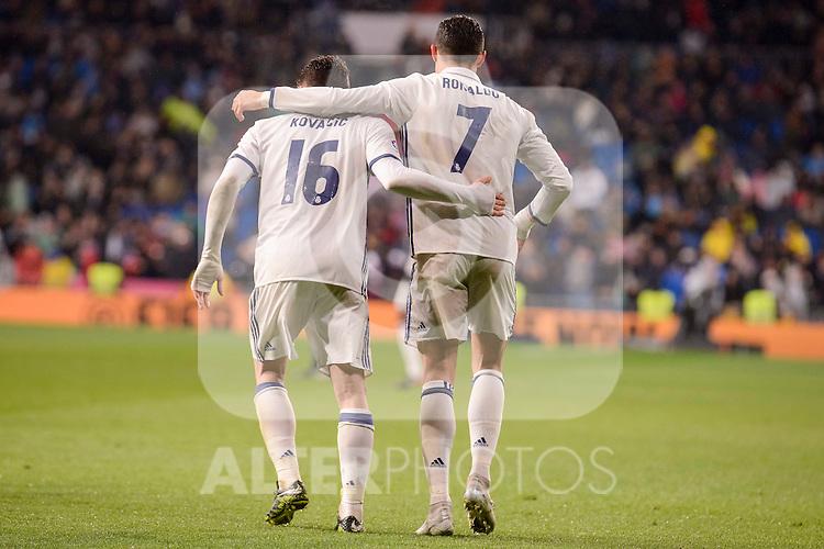 Real Madrid's Cristiano Ronaldo and Mateo Kovacic celebrating a goal during La Liga match between Real Madrid and Real Sociedad at Santiago Bernabeu Stadium in Madrid, Spain. January 29, 2017. (ALTERPHOTOS/BorjaB.Hojas)