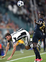 Football Soccer: UEFA Champions League semifinal second leg Juventus - Monaco, Juventus stadium, Turin, Italy,  May 9, 2017. <br /> Juventus' Andrea Barzagli (l) in action with Monaco's during Benjamin Mendy (r) the Uefa Champions League football match between Juventus and Monaco at Juventus stadium, on May 9, 2017.<br /> UPDATE IMAGES PRESS/Isabella Bonotto