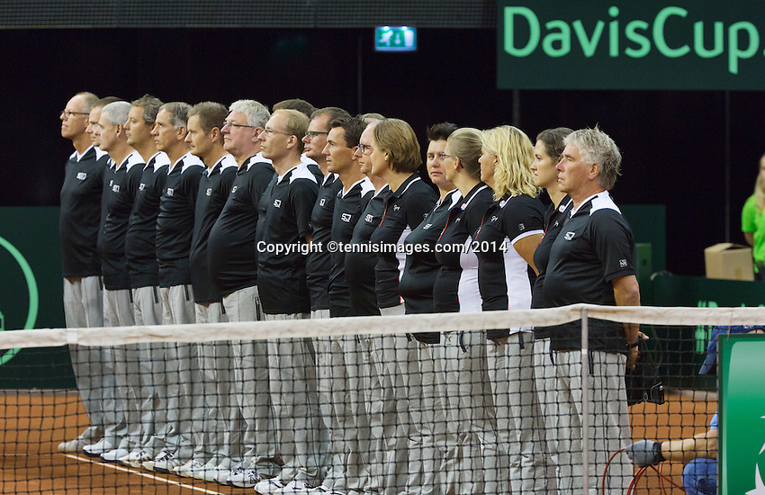 September 12, 2014, Netherlands, Amsterdam, Ziggo Dome, Davis Cup Netherlands-Croatia, Presentation, linespersons<br /> Photo: Tennisimages/Henk Koster
