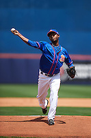 St. Lucie Mets starting pitcher Scarlyn Reyes (38) delivers a pitch during a game against the Brevard County Manatees on April 17, 2016 at Tradition Field in Port St. Lucie, Florida.  Brevard County defeated St. Lucie 13-0.  (Mike Janes/Four Seam Images)