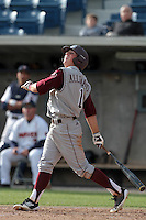 Blake Allemand #1 of the Texas A&M Aggies bats against the Pepperdine Waves at Eddy D. Field Stadium on March 23, 2012 in Malibu,California. Texas A&M defeated Pepperdine 4-0.(Larry Goren/Four Seam Images)