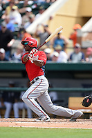 Washington Nationals outfielder Michael Taylor (3) hits a home run during a Spring Training game against the Detroit Tigers on March 22, 2015 at Joker Marchant Stadium in Lakeland, Florida.  The game ended in a 7-7 tie.  (Mike Janes/Four Seam Images)