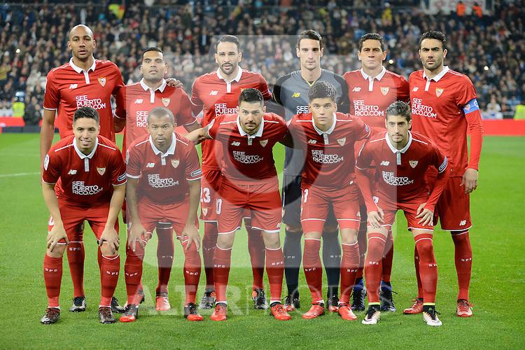 Sevilla FC's players during Copa del Rey match between Real Madrid and Sevilla FC at Santiago Bernabeu Stadium in Madrid, Spain. January 04, 2017. (ALTERPHOTOS/BorjaB.Hojas)