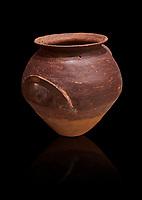 Hittite  terra cotta pot woth two handles. Hittite Period, 1600 - 1200 BC.  Hattusa Boğazkale. Çorum Archaeological Museum, Corum, Turkey. Against a black bacground.