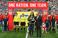 San Diego, CA - Sunday January 21, 2018: Hope Solo, Carlos Cordeiro prior to an international friendly between the women's national teams of the United States (USA) and Denmark (DEN) at SDCCU Stadium.