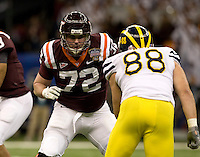 Andrew Lanier of Virginia Tech in action during Sugar Bowl game against Michigan at Mercedes-Benz SuperDome in New Orleans, Louisiana on January 3rd, 2012.  Michigan defeated Virginia Tech, 23-20 in first overtime.