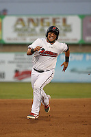 Jose Trevino (5) of the High Desert Mavericks runs the bases during a game against the Lake Elsinore Storm at The Hanger on August 27, 2016 in Adelanto, California. Lake Elsinore defeated High Desert, 10-8. (Larry Goren/Four Seam Images)