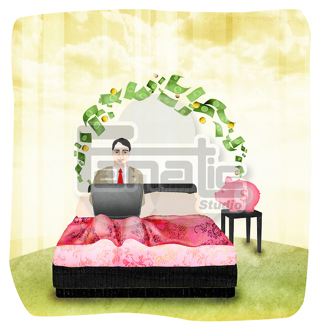 Businessman working on a laptop on the bed