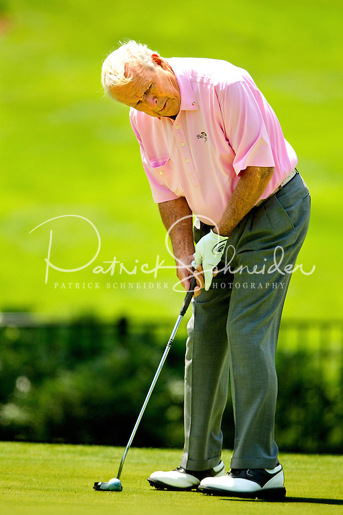 Photography of Arnold Palmer at the Wells Fargo Pro-Am, held annually in Charlotte NC. The event previously was called The Wachovia Golf Championship. The event is held at the Quail Hollow Club in Charlotte, North Carolina in early May. Since its inception in 2003, the PGA golf championship event has attracted some of the top players on the tour. In 2009, the tournament had a $6.5 million purse with a winner's prize of $1.17 million. The event is often ranked among the PGA Tour's toughest holes. The majority of the charitable proceeds from the tournament benefit Teach for America.
