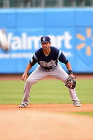 Corpus Christi Hooks shortstop Jiovanni Mier (5) during a game against the NW Arkansas Naturals on May 26, 2014 at Arvest Ballpark in Springdale, Arkansas.  NW Arkansas defeated Corpus Christi 5-3.  (Mike Janes/Four Seam Images)