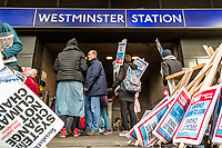 London, England on 15 March 2019: the protest signs outside the Westminster subway during the youth climate strike in London. The protest against climate change and urge the government to take action.The global movement has been inspired by teenage activist Greta Thunberg, who has been skipping school every Friday since August to protest outside the Swedish parliament. Photo Adamo Di Loreto/BunaVista*photo