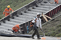 "LA LINEA - COLOMBIA, 29-08-2020: Obras de adecuación a la entrada de los túneles. El túnel principal ""La Línea"" tiene una longitud de  8,65 km y hace parte de El Túnel de La Línea el proyecto de infraestructura vial más importnate de Colombia que está es fase final de construcción conectará de manera eficiente los departamentos colombianos de Quindío y Tolima. El plan además consta de 24 puentes y 20 túneles de diferentes longitudes. / Adaptation works at the entrance to the tunnels. The main tunnel ""La Línea"" has a length of 8.65 km and is part of El Túnel de La Línea, the most important road infrastructure project in Colombia, which is in the final phase of construction and will efficiently connect the Colombian departments of Quindío and Tolima. The plan also consists of 24 bridges and 20 tunnels of different lengths. Photo: VizzorImage / Gabriel Aponte / Staff"