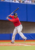 1 April 2016: Boston Red Sox catcher Sandy Leon in action during a pre-season exhibition series between the Toronto Blue Jays and the Boston Red Sox at Olympic Stadium in Montreal, Quebec, Canada. The Red Sox defeated the Blue Jays 4-2 in the first of two MLB weekend games, which saw an attendance of 52,682 at the former home on the Montreal Expos. Mandatory Credit: Ed Wolfstein Photo *** RAW (NEF) Image File Available ***