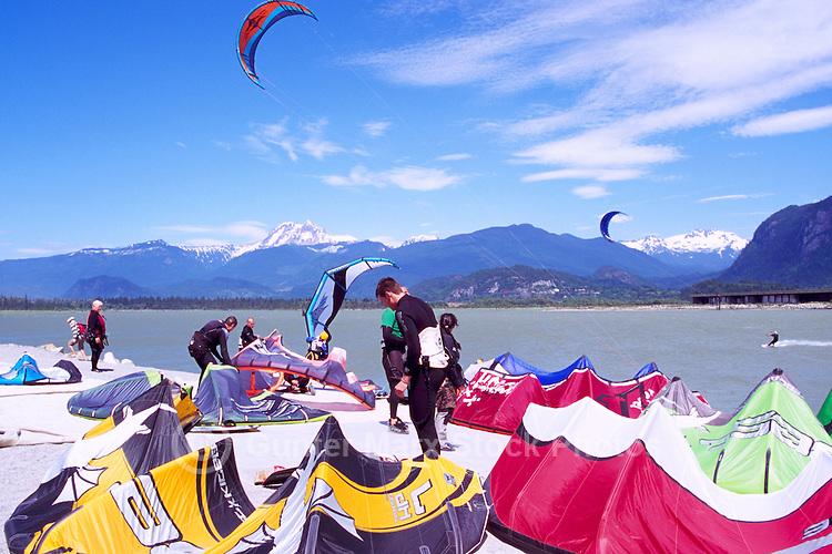 Kiteboarding / Kite Surfing at Squamish Spit, Squamish, BC, British Columbia, Canada - Howe Sound and Coast Mountains, Summer