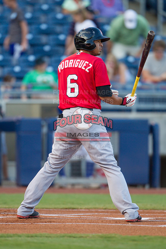 Frisco RoughRiders second baseman Guilder Rodriguez (6) at the plate during the Texas League game against the Tulsa Drillers at ONEOK field on August 15, 2014 in Tulsa, Oklahoma  The RoughRiders defeated the Drillers 8-2.  (William Purnell/Four Seam Images)