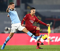 Football, Serie A: AS Roma - S.S. Lazio, Olympic stadium, Rome, January 26, 2020. <br /> Roma's Lorenzo Pellegrini (r) in action with Lazio's Sergej Milincovic-Savic (l) during the Italian Serie A football match between Roma and Lazio at Olympic stadium in Rome, on January,  26, 2020. <br /> UPDATE IMAGES PRESS/Isabella Bonotto