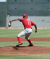 Hunter Greene, the Cincinnati Reds 2017 first round draft pick, pitches against the Rangers in his first instructional league game at the Reds complex on September 25, 2017 in Goodyear, Arizona (Bill Mitchell)