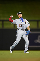 Glendale Desert Dogs center fielder Jeren Kendall (13), of the Los Angeles Dodgers organization, during an Arizona Fall League game against the Scottsdale Scorpions on September 20, 2019 at Salt River Fields at Talking Stick in Scottsdale, Arizona. Scottsdale defeated Glendale 3-2. (Zachary Lucy/Four Seam Images)