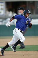 Luis Jimenez of the Rancho Cucamonga Quakes during game against the Stockton Ports at The Epicenter in Rancho Cucamonga,California on August 15, 2010. Photo by Larry Goren/Four Seam Images